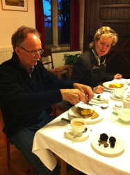 Sampling the taste of success - shavings of very fresh truffle topping truffled scrambled egg. Picture courtesy of Norburton Hall.