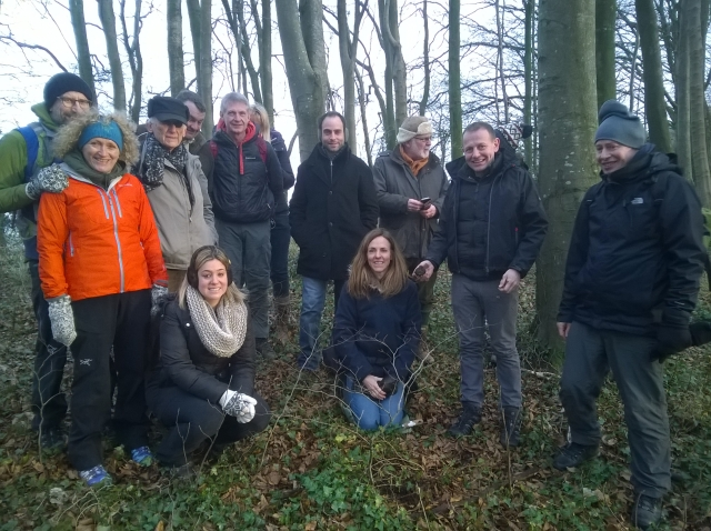 Delighted truffle hunting group