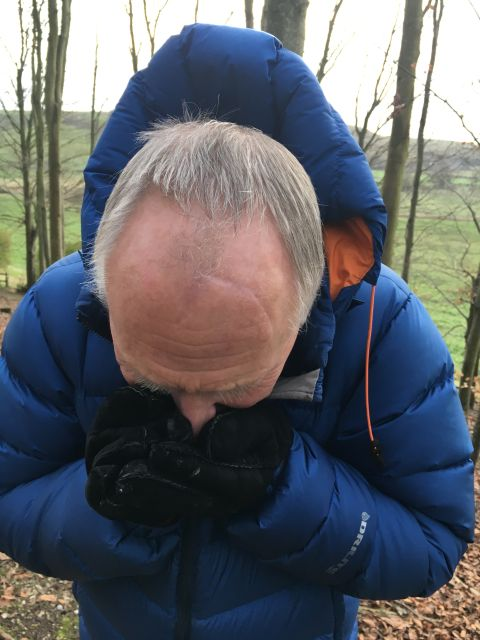 Getting a good sniff of the truffle in a strong wind.