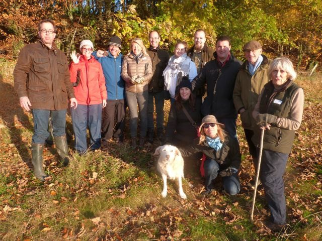 Happy truffle hunters at the end of their hunt, anticipating the tasting.
