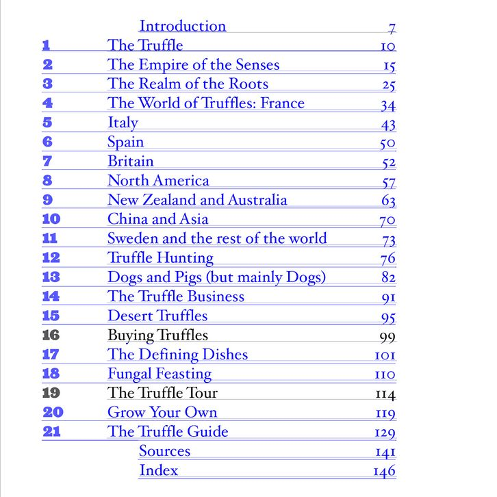 The Truffle Book - Contents (copyrighted material)
