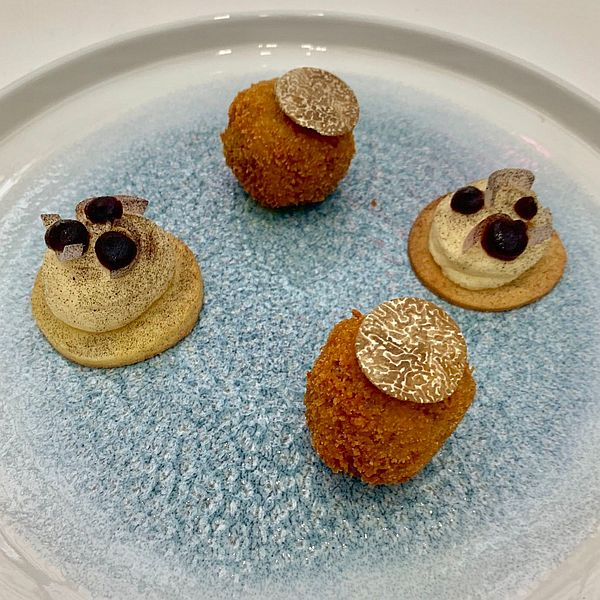 Sion Hughes - mushroom arancini with a black truffle-mayonnaise - Young National Chef of the Year