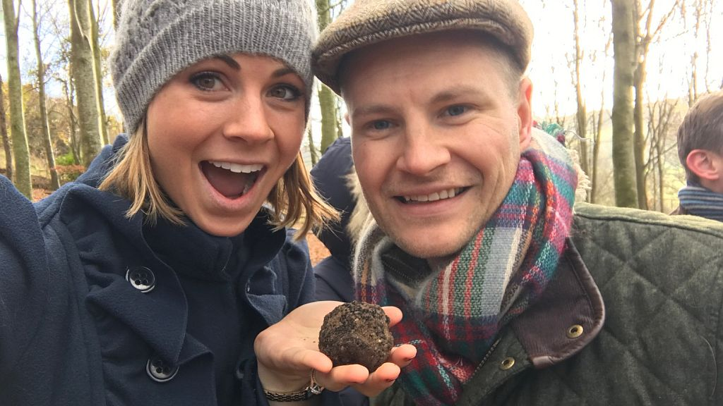 Guests on a truffle hunting experience day with The English Truffle Company