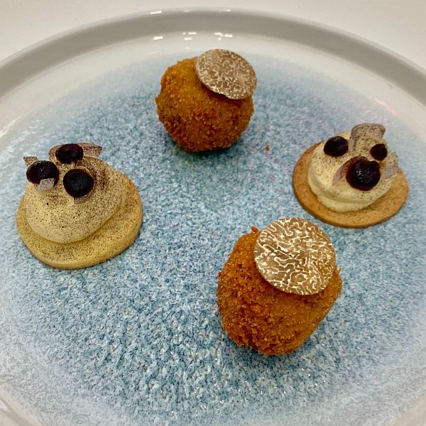 Our truffles in the final of the Young National Chef of the Year. Siôn Hughes of The Carden Park Hotel used them in his mushroom arancini with a black truffle mayonnaise starter.